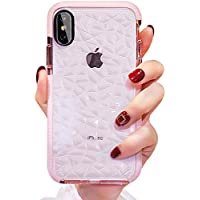 Anole Clear Slim TPU 3D Diamond Pattern Pink Case for Apple iPhone XS Max
