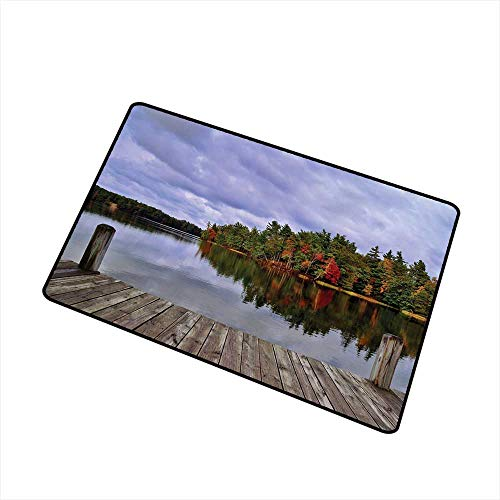 State Park Entrance - RelaxBear Lake Commercial Grade Entrance mat Wooden Dock and Island Ablaze in Fall Splendor Ludington State Park in Michigan USA for entrances garages patios W29.5 x L39.4 Inch Multicolor