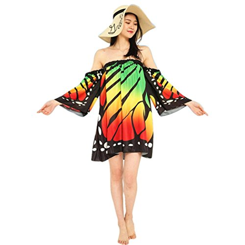 Women Shoulder Off Butterfly Dress Sleeve Printing Green Casual Beach Flare KIMODO Ladies Boho Dress Sd8wSqR