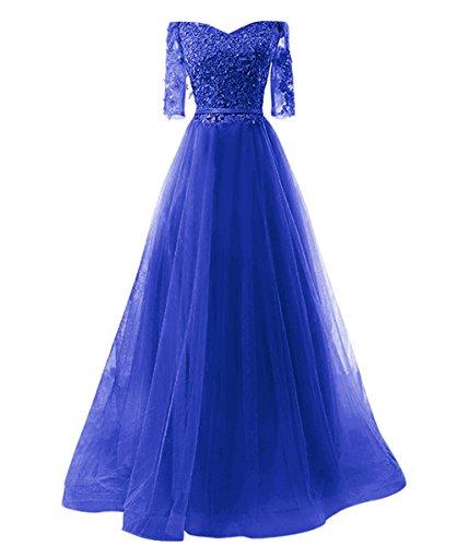 Abendkleid Linie Blau2 brautjungfer Damen kleid Tuell Schnuerung langes Party Vickyben Prinzessin A Cocktail Ballkleid 4SwE0