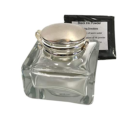 """Antique Square Clear Glass Inkwell Reproduction, 1-3/8""""w x1-3/4""""h, with Ink Powder"""