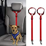 XZANTE 2 Packs Dog Cat Safety Seat Belt Strap Car Headrest Restraint Adjustable Nylon Fabric Dog Restraints Vehicle Seatbelts Harness red