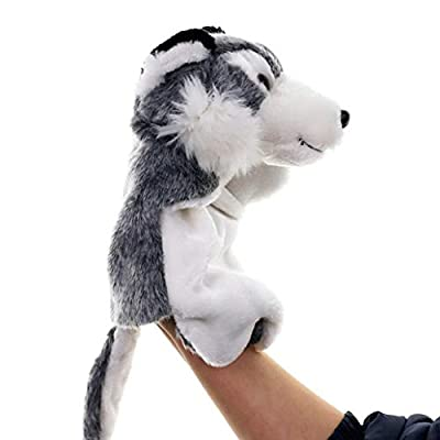Cuiedailqhb Cute Wolf Animal Plush Soft Doll Hand Puppet Storytelling Parent-Child Toy Gift - Brown: Toys & Games