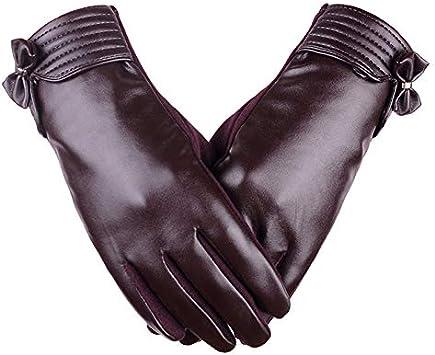 Chytaii Gants /Écran Tactile Plein-Doigts en Cuir Femme pour Hiver Anti-Vent Tenir Mains Chauds avec D/écoration Noeud Papillon