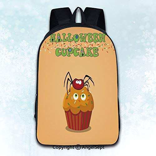 Multi-Function Stylish Knapsack,Cute happy halloween cupcake with spider and monster eyes on ora Multicolor 16 inches,Anti-Theft Rucksack Double Shoulder Bag -