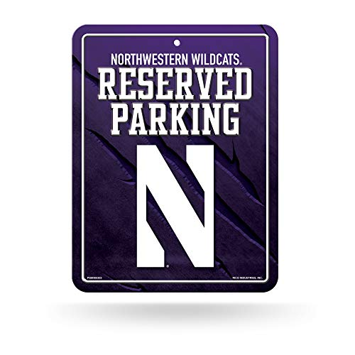 (NCAA Northwestern Wildcats 8-inch by 11-inch Metal Parking Sign Décor)