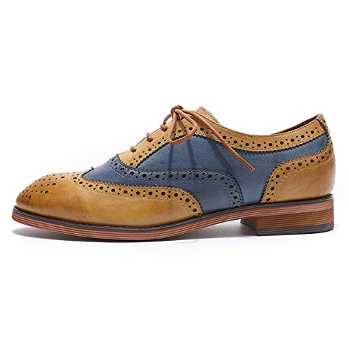 up Shoes MIKCON Lace Brown Brougue Wingtip for Women's blue Perforated Shoes Women Leather Oxfords Multicolor qxI4f