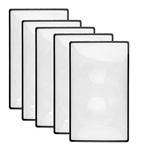 - Wecando 5 Pack 3X Premium Magnification Full Page Magnifier Fresnel Lenses Ideal for Reading Small Prints & Low Vision Seniors (5Pack)