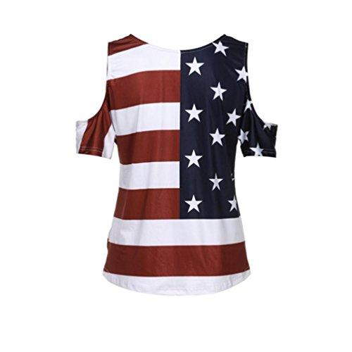 - Kulywon Fashion Women Sexy Lace Sleeveless American Flag T Shirt Tops Blouse (XXL, Multicolor)
