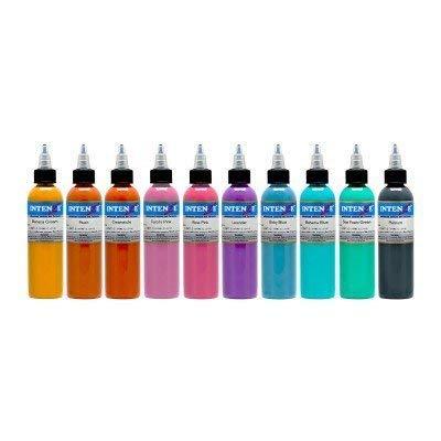 Intenze Color Tattoo Ink Sets 1 oz (10 Pastel Color Tattoo Ink Set)