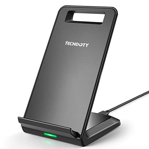 Fast Wireless Charger, TECHDOTY Qi Charge Wireless Charging Stand Compatible iPhone Xs Max/Xs /Xr/X/8/8 Plus, Samsung Galaxy S9 / S8 /Note 9/8/ S7 S7 Edge/ S6 S6 Edge Plus/Note 5 (No AC Adapter)
