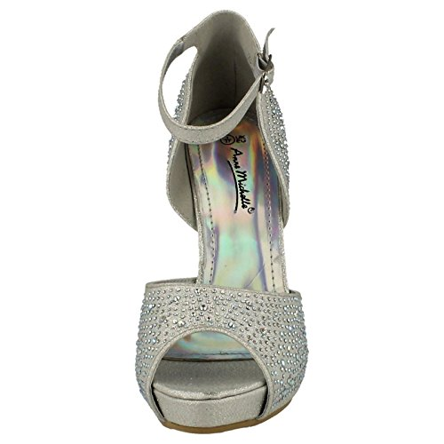 Ladies Anne Michelle Platform Heel Sandals Silver sbvOyHsW