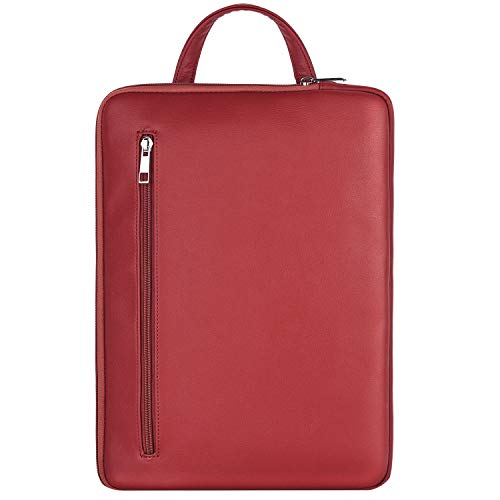 MoKo 13-13.5 Inch Laptop Sleeve Bag with Handle Fits MacBook Pro/MacBook Air 13 Inch, Surface Book/Surface Laptop Surface Pro X 13″, PU Leather Ultrabook Briefcase Carrying Case Bag – Wine Red