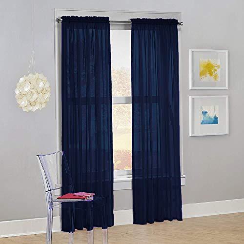"Decotex Set of 2 Sheer Voile Transparent Window Panel Curtain Drapes (54"" W X 63"" L, Navy Blue)"