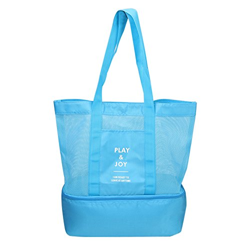 Price comparison product image Beach Tote Bags, Phroboxl Large Mesh Beach Bags with Bottom Cooler Bag for Beach, Pool, Picnic Even Theme Parks (Blue)