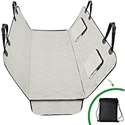 Luxury Quilted Large pet Seat Cover with Pet Seatbelt & Silicone Food Bowl, Machine-Washable & Scratch-Proof Car-Seat Protectors for Dogs waterproof pet seat covers by CaringEver (tan)