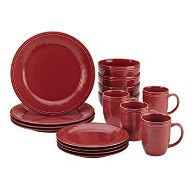 Rachael Ray Cucina 16-Piece Stoneware Dinnerware Set, Cranberry Red