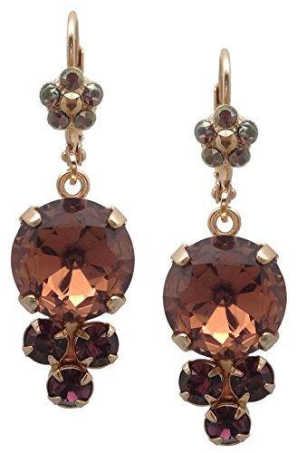 Mariana Swarovski Crystal Rose Gold Plated Earrings Purple Mix Dangle 1072 Bohemian (Purple Swarovski Crystals Floral Earrings)
