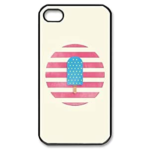 IPhone 4/4s Cases Blue Ice Cream Popsicle Illustration Cute for Girls, Phone Case for Iphone 4s for Women Cute for Girls [Black]