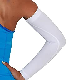 Compression Arm Sleeves - Golf Sun UV Protection - Cycling Arm Warmer - Baseball Sleeve - Basketball Shooter Arm Sleeve - Reduce Elbow Pain and Prevent Arm Fatigue (L/XL, White)