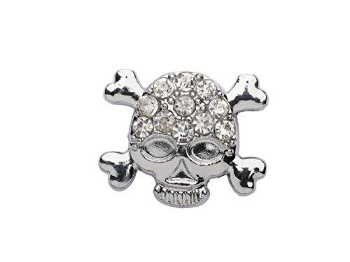 Charm cinturino con per pelle Clip o donne le lacci ragazze forma Charm i il strass Blink a argento in colore o di per cranio La Loria Skull qgHxn1TwaE