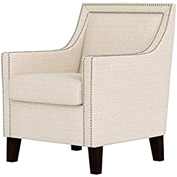 Amazon Com Swoop Arm Chair Nail Accent Light Beige Fabric