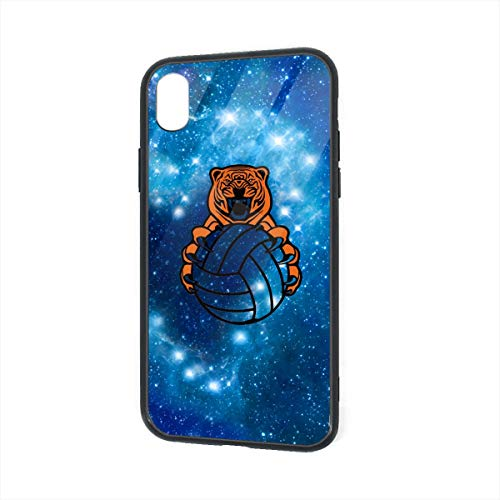 Volleyball Team Tiger Logo iPhone XR TPU Glass Phone Case Shock-Absorption Bumper Cover 6.1 Inch