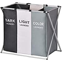 Xcellent Global Laundry Basket 3 Sections 27''L×24''H Large Collapsible Dirty Clothes Organizers Bag Sorter with…