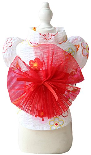 Halloween Dogs Costumes Wiener For (MaruPet Brocade Japanese Kimono for Girl Floral Pet Halloween Costume Bowknot Dog Dress for Small, Extra Small Dog Wiener Dog Teddy, Pug, Chihuahua, Shih Tzu, Yorkshire Terriers, Papillon Red)