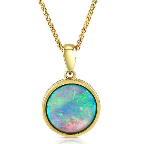 """Paul Wright Created Opal Pendant Necklace, 10K Yellow Gold, 10mm Round (1.50 cttw), 16"""" Plus 2"""" Extender"""