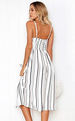 Angashion Women's Dresses-Summer Floral Bohemian Adjustable Spaghetti Strap Button Down Swing Midi Dress with Pockets 7