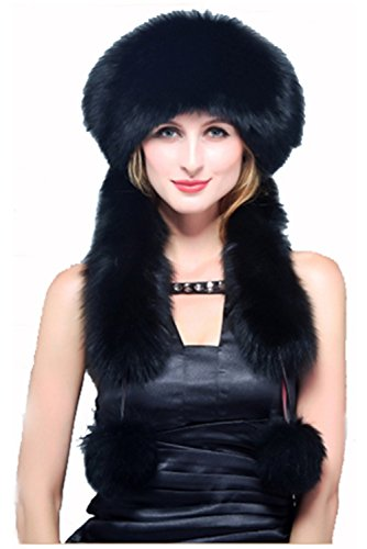 Qmfur Real Fox Fur Hats Women Exotic Ctyle Warm Fur Cats (Black) by QMfur
