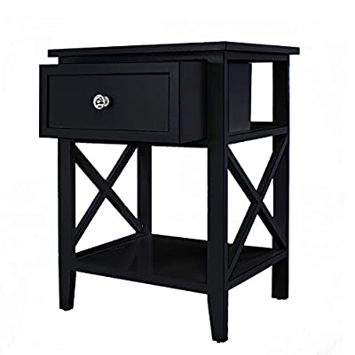 Jerry & Maggie - Nightstand | Storage - 2 Tier Curving Sides Night Stand Storage Bedside Table with 1 Drawer - Multi Function Shelf Modern Fashion Design | Black - MATERIAL - Wood - Natural | No Scent | Non-toxic | Wood Texture Surface FUNCTION - NO Assembly Request - 1 Cabinet Front Drawer | 1 Curving Sides Shelf - easy to storage personal accessories - flat wood top perfect for placing plants | table lamp | book | makeup accessories CONSTRUCT - 4 short & flat bottom legs protect your floor from stretching - extra large and smooth top surface allows placing more items and perfect to touch - bedroom-furniture, nightstands, bedroom - 41hHOJ2r5QL. SS400  -