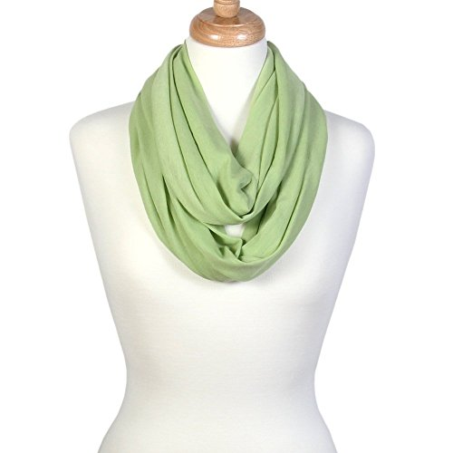 Scarfand's Super Soft Light Weight Solid Color Infinity Loop Scarf (Green)