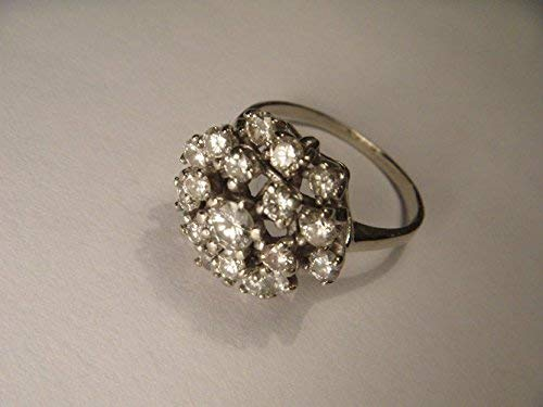 Vintage Estate 14K White Gold Diamond Filigree Round Cocktail Floral Ring