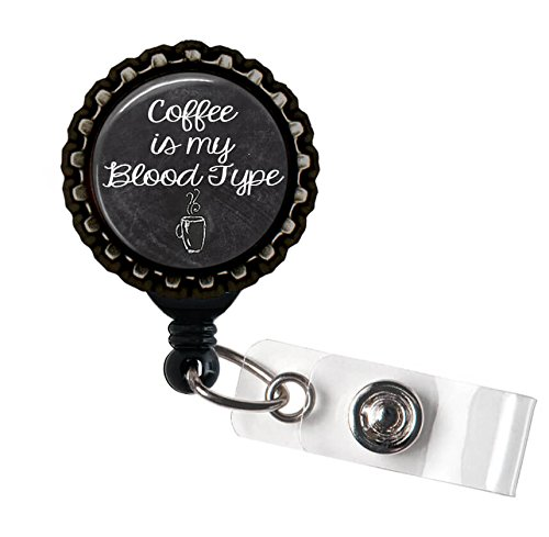 - Coffee Is My Blood Type Black Retractable ID Tag Badge Reel by Geek Badges