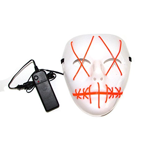 Scary Led Light Up Purge Costumes Glow Stick Party City Mask for Parties Festival Halloween Costume by Magical Imaginary (Orange)