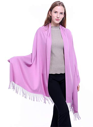 (Women Large Cashmere Scarf Fall Winter Soft Pashmina Shawl Wrap Warm Stole Blanket Men Solid Color Scarves Pink)