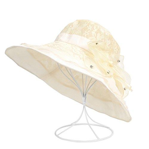 HH HOFNEN Women Summer Kentucky Derby Sun Hats Wide Brim Chiffon Lace Flounce UV Sun Hats, free size, Beige