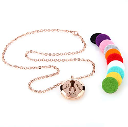 Pink Ribbon Breast Cancer Awareness Aromatherapy Essential Oil Diffuser Necklace Locket Pendant Jewelry Gift Set with 20