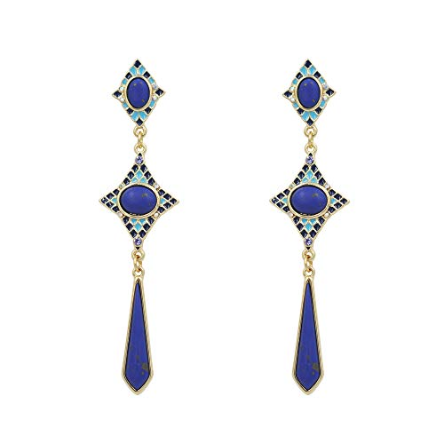 - Billie&Cathy woman stud earrings gold plated with enamel and navy blue synthetic stone long dangle earrings for formal outfit