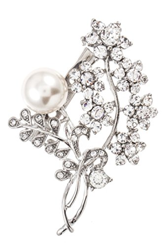 Estate Flowers Brooch (Karmas Canvas Crystal Flower Vine Faux Pearl Accent Brooch)
