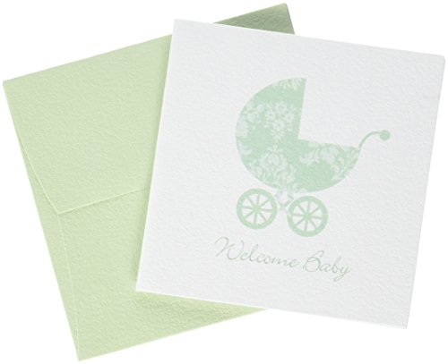 C.R. Gibson Green Welcome Baby Gift Card Baby Shower Gift Enclosure Card, 3.5 x 0.1 x 3.3 inches, 2 pieces (Enclosure Card Matches)