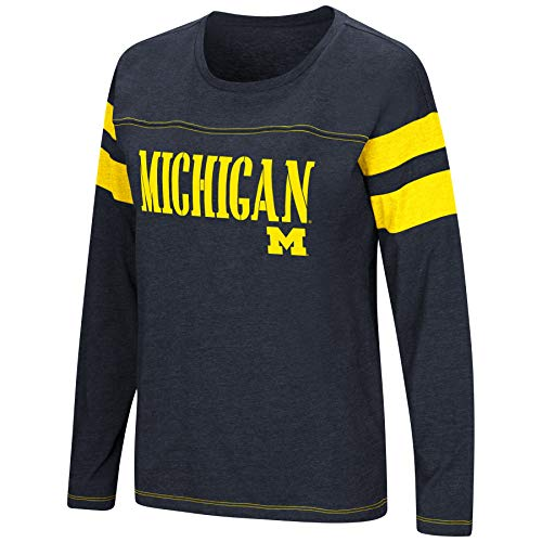 Colosseum Women's NCAA-Game of My Life-Dolman Long Sleeve Tee-Michigan Wolverines-Blue-Medium