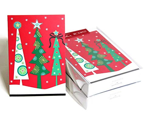 Hallmark Christmas Boxed Cards, Bulk Set of 32 Holiday Season's Greeting Cards and Envelopes, Three Cute Christmas Trees with Small White Snowflakes and A Touch of Gold Foil Design (Christmas Tree)