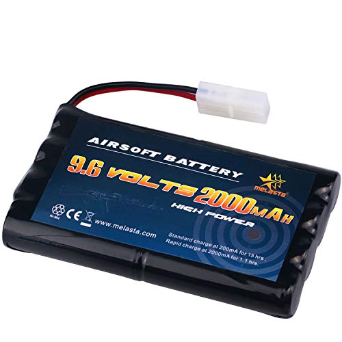 melasta AA 9.6V 2000mAh NiMH Battery Pack with Tamiya Connector for RC/Remote Control Cars Boats RC Gadgets Airsoft Guns