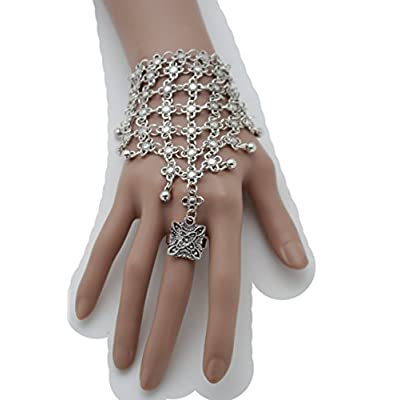 Top TFJ Women Ethnic Fashion Jewelry Vintage Hand Antique Silver Metal Chains Bracelet Flower Slave Ring free shipping