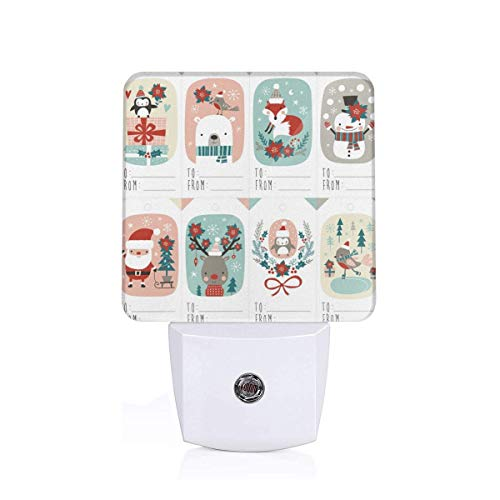 Christmas Gift Tags with Cute Woodland Animals Santa Claus Snowman and Poinsettia Auto Senor Dusk to Dawn Night Light Plug in for Kids Baby Girls Boys Adults Room