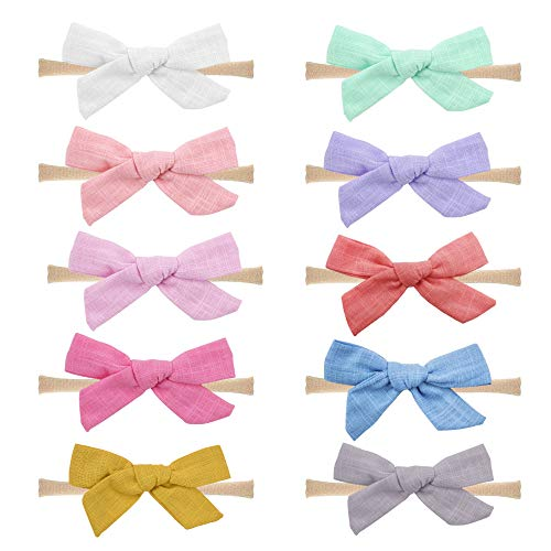 Baby Nylon Headbands Hairbands Hair Bow Elastics for Baby Girls Newborn Infant Toddlers Kids by Prohouse (Bows C-10PCS)