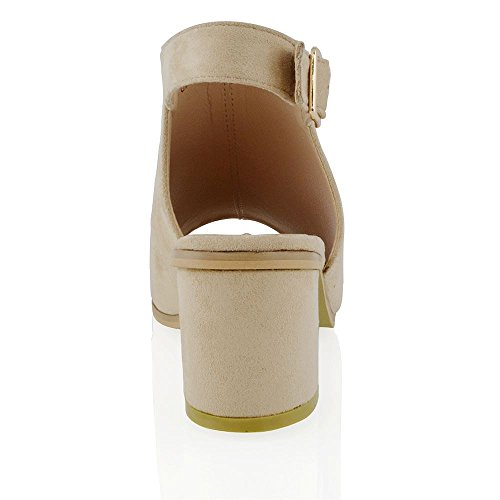 Buckle Ankle Back Suede Boots ESSEX Nude Open GLAM Shoe Peep Low Ladies Heel Womens Mule Toe Strap Faux TwRw7qY6